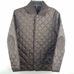 BROOKS BROTHERS Fleece Brown Quilted Puffer Jacket
